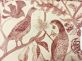 Exotic Bird Print Multi-Purpose Fabric in Red and Cream 7.375 yards - $140.13