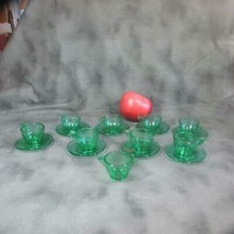 Akro Agate Doll Tea Set Green, 8 Cups & Saucers with Pitcher - $26.17