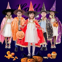 Halloween Costume Set For Kids Wizard Witch Masquerade Cloak Cape Robe a... - $12.25