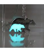Shining Alloy Metal Mama Bear Designs Pendant Necklace Glow In Dark Link... - $8.90