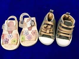 Size 1 baby girls lot of 2 pair of shoes-Circo Floral Sandals-Trimfoot C... - $9.49