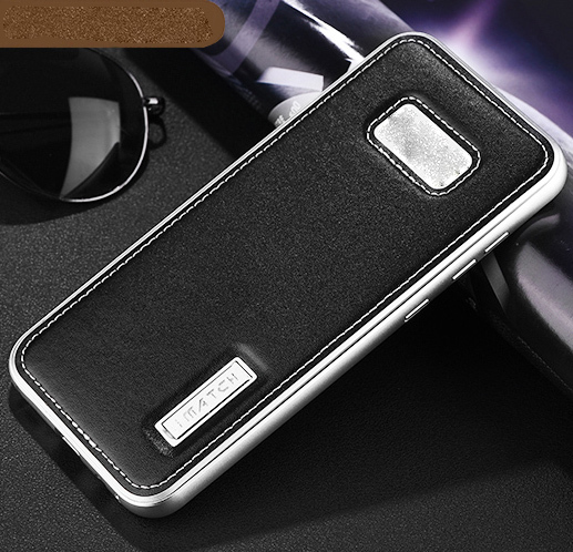 genuine leather back cover kickstand for samsung galaxy s8 plus silver black p20170510141423405