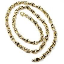 """18K YELLOW WHITE GOLD CHAIN SAILOR'S NAVY MARINER LINK BIG OVAL 5 MM, 24"""" image 2"""
