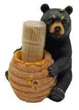 1 X Cute Black Bear / Honey Pot Toothpick Holder - Decorative Lodge Cabi... - $204,13 MXN