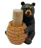 1 X Cute Black Bear / Honey Pot Toothpick Holder - Decorative Lodge Cabi... - $10.84