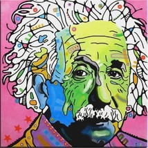 "Albert Einstein Oil Painting on Canvas Pop Art Wall decor Portrait 28x28"" - $24.74"