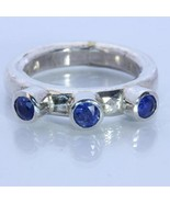 Natural Blue Sapphire Handmade Sterling Silver Gents Frog Eye Style Ring... - £57.59 GBP