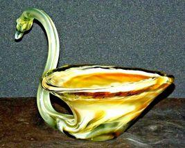 Hand Blown Glass Swan AB 129 Vintage image 3