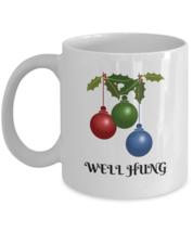 Funny Christmas Mug, Well Hung, 11oz White Ceramic Coffee, Tea Cup - $19.79