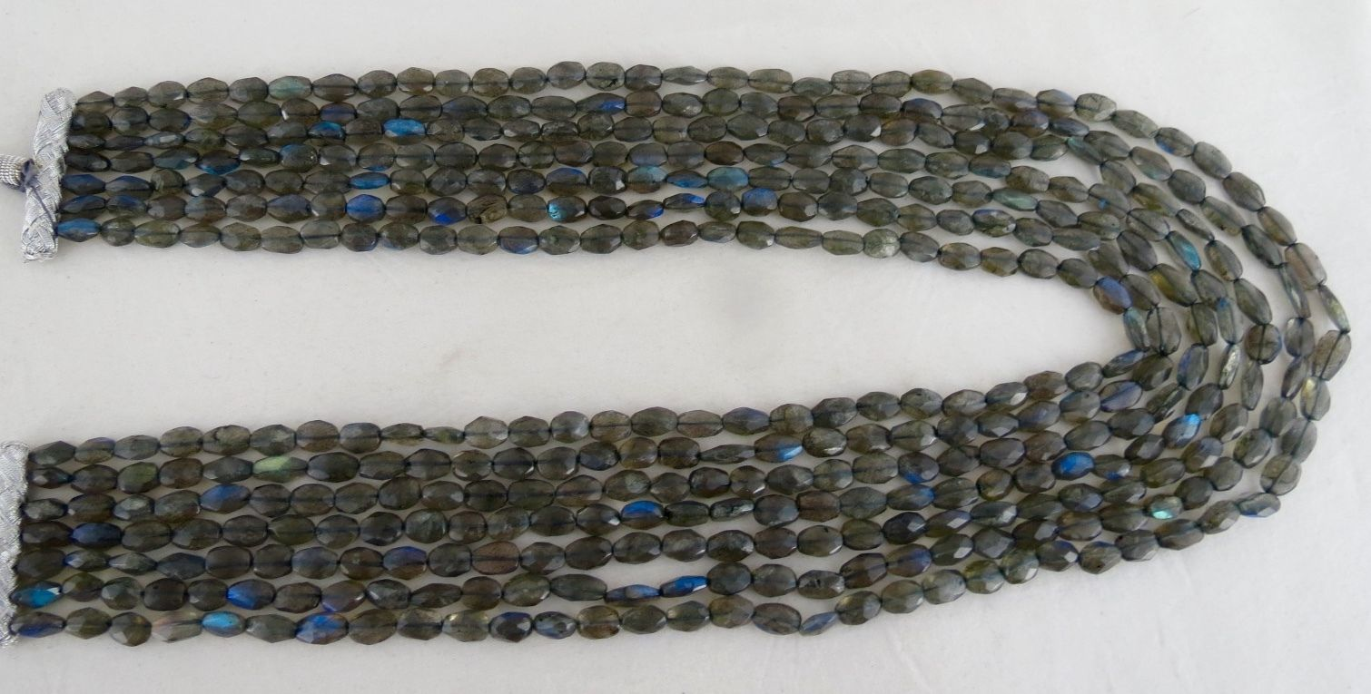 7 LINE  816 CARATS NATURAL LABRADORITE LONG FACETED BEADS GEMSTONE NECKLACE