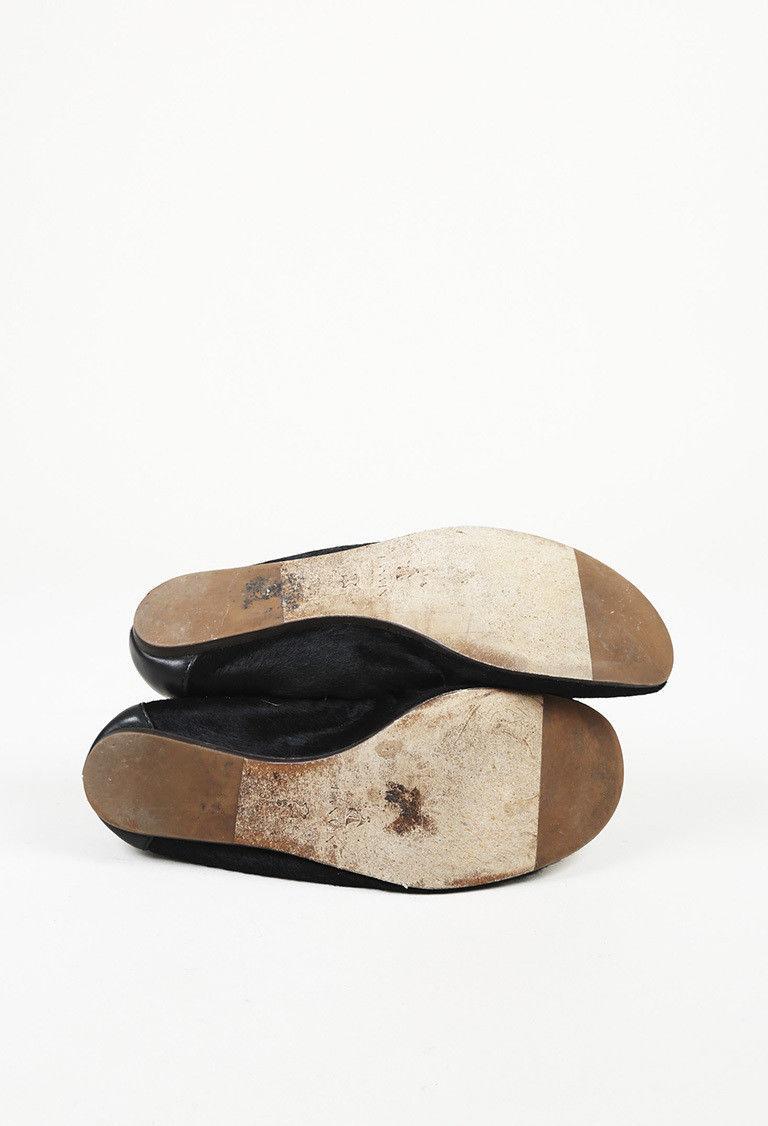 Lanvin Black Calf Hair Ankle Strap Flats SZ 38.5