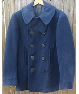 Authentic US Issue Men's Double Breasted Wool Pea Coat WWII Blue - $120.00