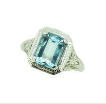 Art Deco 10K White Gold Filigree 1.34ct Genuine Natural Aquamarine Ring ... - $495.00