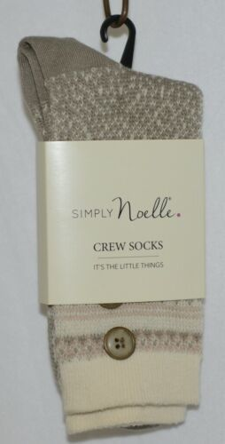 Simply Noelle Cream Blush And Gray Crew Sock One Size Fits Most