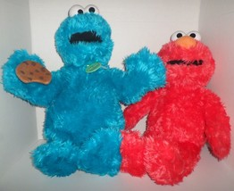 "Build-A-Bear Lot Cookie Monster And Elmo Plush Sesame Street 2017 18"" Limited - $27.50"