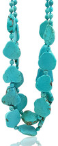 Lii Ji 26.5' 2 Rows Irregular Shape Blue Simulated Turquoise Howlite Sta... - $124.31