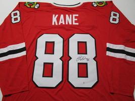 PATRICK KANE / AUTOGRAPHED CHICAGO BLACKHAWKS RED CUSTOM HOCKEY JERSEY / COA image 1