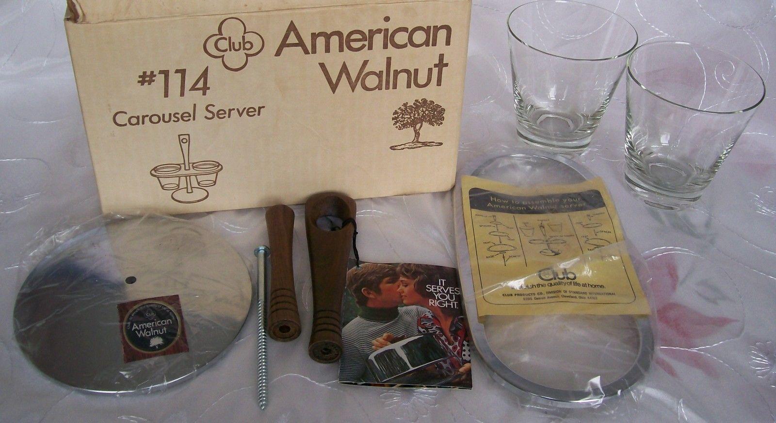 Vtg AMERICAN WALNUT- WOOD/GLASS/CHROME-Condiment Caddy/ Relish Tray/Carousel-NEW