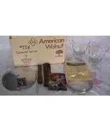Vtg AMERICAN WALNUT- WOOD/GLASS/CHROME-Condiment Caddy/ Relish Tray/Caro... - $13.95