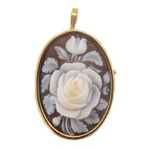 14k Genuine Natural Shell Cameo Pin / Pendant with Rose (#J3893) - $237.50