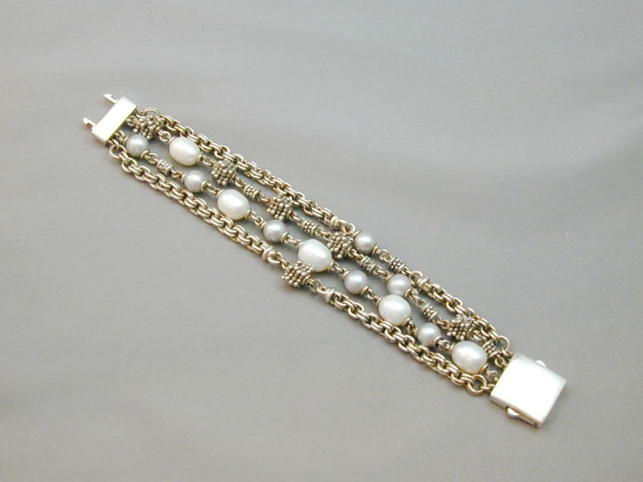 Michael Dawkins 4 Strand 925 Granulation Bead Gray White FW Pearl Bracelet