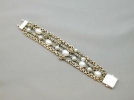 Michael Dawkins 4 Strand 925 Granulation Bead Gray White FW Pearl Bracelet - $194.99