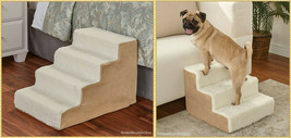 Sherpa Covered Pet Steps Stool Stairs Soft Portable Small Pets Dogs Cats... - $36.99+