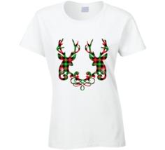 Buffalo Plaid Deer White Ladies T Shirt - $18.99+