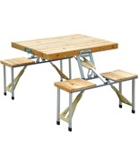 Suitcase Camp Portable Outdoor Folding Picnic Camping Table w/ 4 Seats C... - $78.64