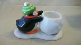Ceramic Penguin Pushing A Snowball Tea Light Candle Holder From Hallmark - $14.85
