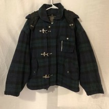 Express Womens Medium Coat Plaid Quilted Lined Removable Hood Wool Blue ... - $24.98