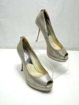 MICHAEL Michael Kors 6.5 M York Platform Silver Glitter Peep Toe Stiletto Heel - $42.75