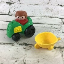 Vintage 1990 Fisher Price Little People Red Figure With Tractor And Whee... - $11.88