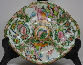 Antique Chinese Rose Medallion Footed Dish - 10 x 8.5 x 1.5 Inches - Unm... - $124.73