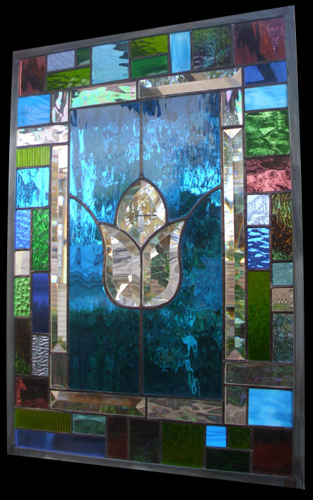 Stained Glass Window Turquoise Treasure Panel