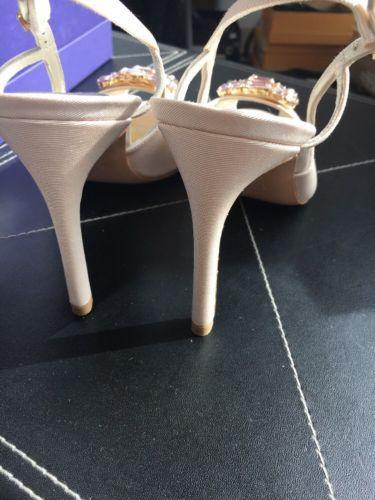 New Stuart Weitzman Lovely Nude Gros Crystal Peep Toe Heels EU 38.5 $398