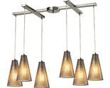 Elk Lighting Ribbed Glass Collection 6 Light Chandelier In Satin Nickel - 10333/
