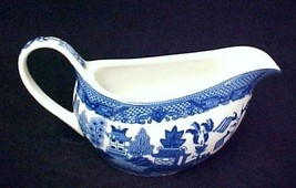 Blue Willow Porcelain China Gravy Boat Serving Piece Birds Oriental Pago... - $24.47