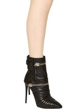 Giuseppe Zanotti Stiletto Black 110Mm Quilted Zipped Calf Ankle Boot 39 - $517.02