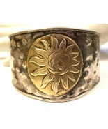 Vintage Sterling Silver Cuff Bracelet with Gold over Silver Center Flowe... - $66.45