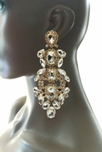"""5.25"""" Long Oversized Clear Rhinestone Clip On Earrings Drag Queen Pageant Bridal - $31.30"""