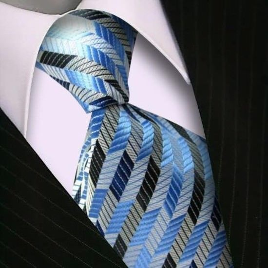 Men Ties Blue With Grey White Stripes Tie Business Party Student Necktie