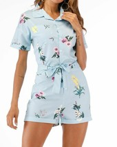 Stripe & Floral Print Short Sleeve Neck Collar Button Front Belted Rompe... - $42.29
