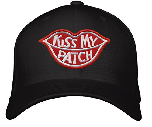 Kiss My Patch Hat - Adjustable Black - Red Lips Funny Cap