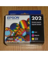 Genuine Epson 202 3-Pack Ink Cartridges 2022 Yellow, Cyan, Magenta - $30.13