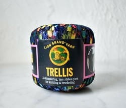 Lion Brand Trellis Multicolor Nylon Ribbon Yarn - 1 Skein Color Rainbow 304 - $6.60