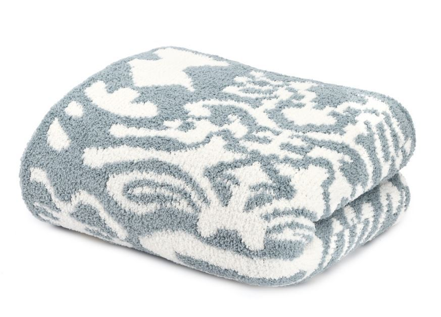 Kashwere Damask Silver Blue & Cream Throw Blanket - $175.00