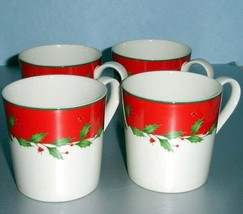Lenox Holiday Red Set of 4 Mugs Dimension collection 12 oz. New In Box - $49.90