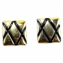Square Quilted Huggie Earrings Vintage Black Gold Tone Clip On e807 - $7.99