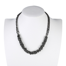 UE- Contemporary & Distinctive Charcoal Gun Metal Tone Designer Necklace - $19.99